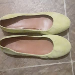 CHARTREUSE J crew Suede Flats